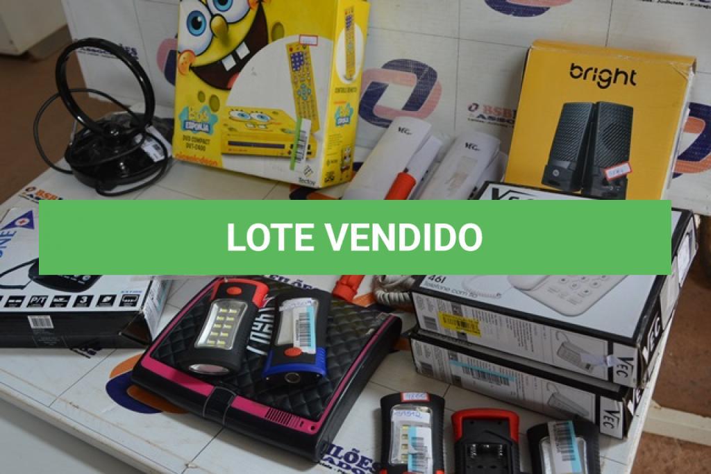 LOTE 026 - 01 PAR DE CAIXAS DE SOM USB, 01 DVD INFANTIL COMPACT  DVT-C400, 03 APARELHOS TELEFÔNICOS, SENDO 02 IDENTIFICADORES DE CHAMADAS, 02 INTERFONES, 06 MINE LANTERNAS E 01 ANTENA DIGITAL.(NO ESTADO)