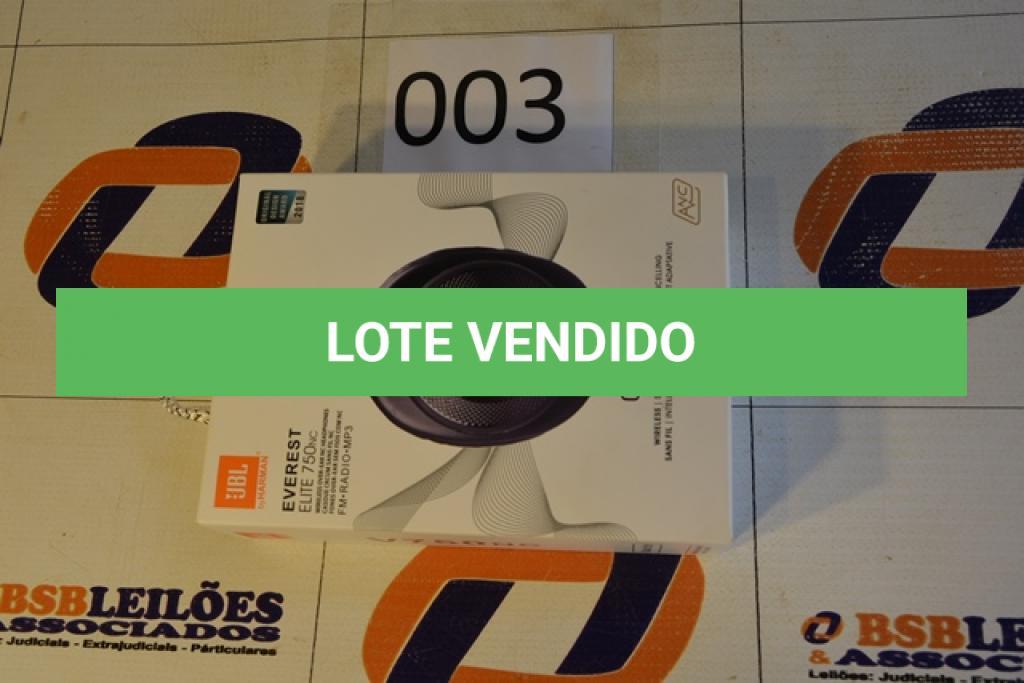 LOTE 003 - 01 FONE DE OUVIDO BLUETOOTH WIRELESS, FM, RÁDIO, MP3 (NO ESTADO)